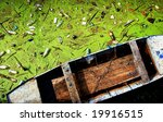 Waste and green algaes on a water surface - stock photo