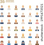 men avatar flat style icon  set | Shutterstock .eps vector #1991673521