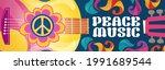 hippie music cartoon banner... | Shutterstock .eps vector #1991689544
