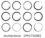 grunge circle frames. black ink ...   Shutterstock .eps vector #1991732081