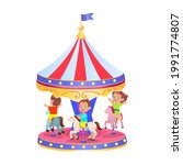 a carousel with horses  vector... | Shutterstock .eps vector #1991774807