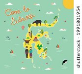 sulawesi indonesia tourism map... | Shutterstock .eps vector #1991801954