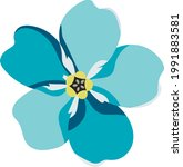 blue forget me not flower on a...   Shutterstock .eps vector #1991883581