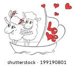 couple in love. two happy sheep ... | Shutterstock .eps vector #199190801