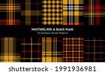 plaid pattern set in mustard... | Shutterstock .eps vector #1991936981