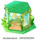 green gazebo garden...   Shutterstock .eps vector #1991939294