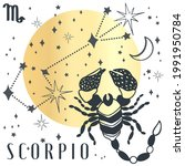 zodiac sign scorpio in boho...   Shutterstock .eps vector #1991950784