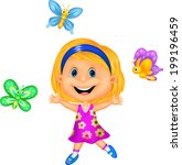 happy little girl with colorful ... | Shutterstock . vector #199196459