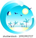tropical island with palm trees ...   Shutterstock .eps vector #1991992727