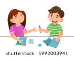 boy gives girl pencil study in...   Shutterstock .eps vector #1992003941