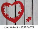 Outline Of Puzzle Heart On...