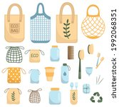 zero waste. various eco objects.... | Shutterstock .eps vector #1992068351