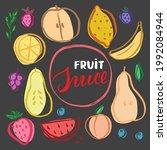 fruit set  collection of juicy...   Shutterstock .eps vector #1992084944