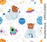 seamless pattern with cute bear ... | Shutterstock .eps vector #1992115601