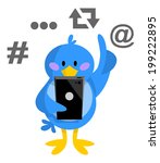 bird,blue,cartoon,cell,device,finger,illustration,mobile,phone,post,smart,tap,telephone,text,twitter