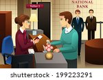 A vector illustration of bank teller servicing a customer in the bank