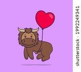 cute bull flying with love... | Shutterstock .eps vector #1992249341