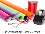 material to wrap gifts ... | Shutterstock . vector #199227905