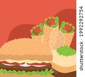 shawarma hamburger and baklava  ... | Shutterstock .eps vector #1992292754