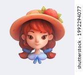 cartoon girl icon in wide brim...