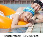 happy girl learning to swim in... | Shutterstock . vector #199230125