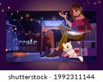banner with woman artist on... | Shutterstock .eps vector #1992311144