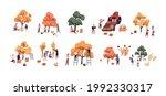 set of people picking fresh... | Shutterstock .eps vector #1992330317