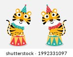 cute tiger in the circus...   Shutterstock .eps vector #1992331097
