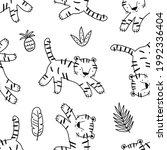 cute hand drawn tiger. hand... | Shutterstock .eps vector #1992336404