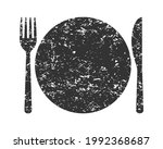 fork knife and plate icon logo. ... | Shutterstock .eps vector #1992368687