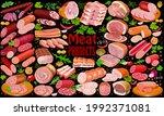 illustration set of meat... | Shutterstock .eps vector #1992371081