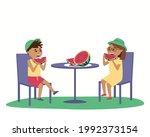 children eat watermelon at a... | Shutterstock .eps vector #1992373154
