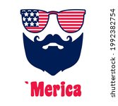 4th of july  man with moustache ... | Shutterstock .eps vector #1992382754