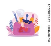 flag beauty bag icon with happy ...   Shutterstock .eps vector #1992383201