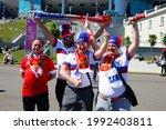 Small photo of Saint Petersburg, Russia - 16 June 2021: Football. European Football Championship 2020. Group B. Finland v Russia. Euro 2020. Fans, fans, spectators, fan, fan, spectator, turn