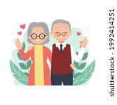 elder couple feeling happy and... | Shutterstock .eps vector #1992414251