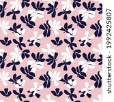 pink and navy floral brush...   Shutterstock .eps vector #1992425807