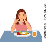woman feel not hungry concept... | Shutterstock .eps vector #1992437951