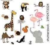 card with cute cartoon animals...   Shutterstock .eps vector #1992473324