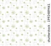 pattern of plants and squares   Shutterstock .eps vector #1992489461