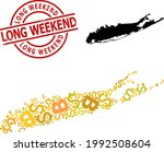 scratched long weekend stamp...   Shutterstock .eps vector #1992508604
