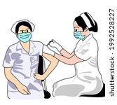 female doctor or nurse gives...   Shutterstock .eps vector #1992528227