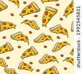slices of pizza with sausage.... | Shutterstock .eps vector #1992545831