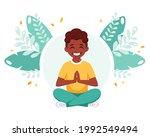 african american boy meditating ... | Shutterstock .eps vector #1992549494