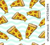 pizza slices  turquoise waves... | Shutterstock .eps vector #1992556094