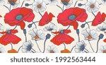 summer flowers meadow. seamless ... | Shutterstock .eps vector #1992563444