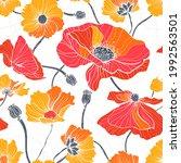 summer wild flowers. seamless... | Shutterstock .eps vector #1992563501