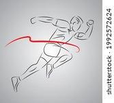 outline silhouette running man... | Shutterstock .eps vector #1992572624