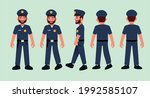 bearded police man with hat.... | Shutterstock .eps vector #1992585107