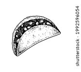 hand drawn mexican tacos.... | Shutterstock .eps vector #1992596054